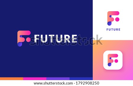 Letter F logo set with gradient design, concept of 5G, future and forward Foto stock ©