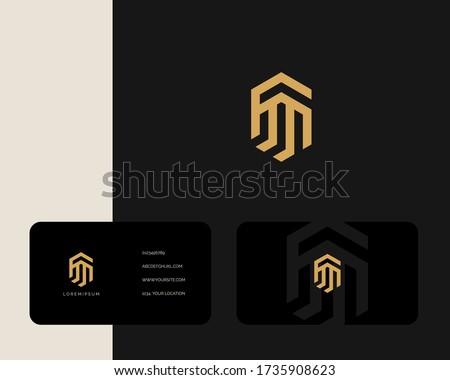 Letter F M logo design with business card vector template. creative minimal monochrome monogram symbol. Premium business logotype. Graphic alphabet symbol for corporate identity Stock fotó ©