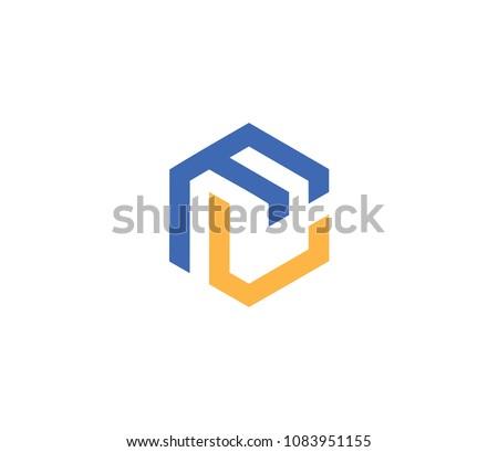 Letter FL logo template. hexagon logo Stock fotó ©