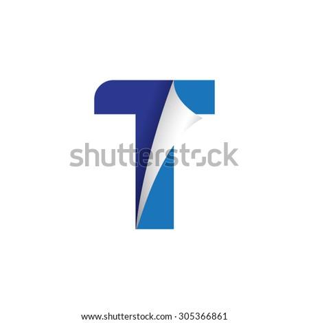 letter fold icon logo t