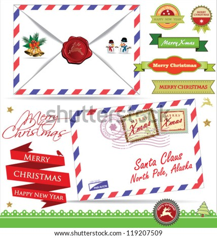 Letter for Santa Claus - stock vector