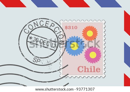 Letter from Chile - postage stamp and post mark from Concepcion. Chilean mail.