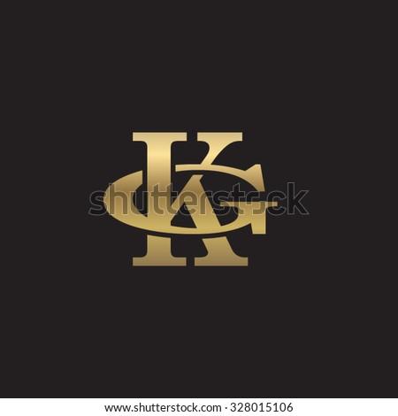 letter G and K monogram golden logo Stock fotó ©