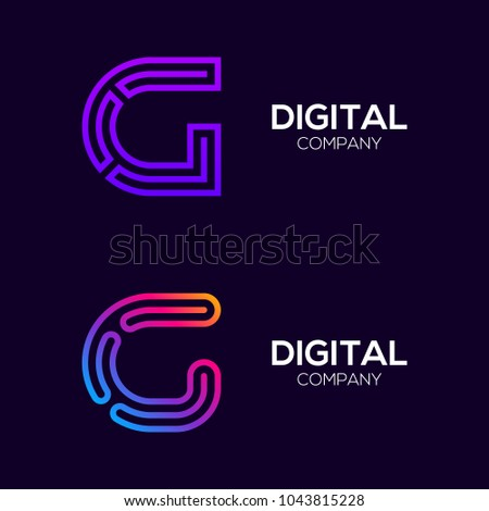 Letter G Colorful logotype with Three Line, Square and Circle shape Maze Labyrinth, Technology and Digital Connection Link concept for your Corporate identity