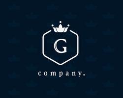 Letter G floral and crown logo. Beautiful, graceful royal template design. Vintage vector emblem for book design, brand name, business card, restaurant, boutique, hotel, wedding invitation, cafe.