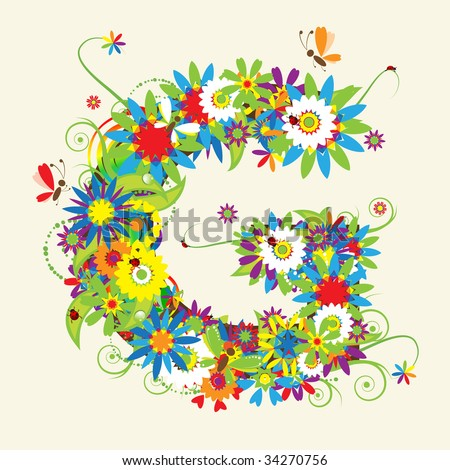 Design Letters on Letter G  Floral Design  See Also Letters In My Gallery Stock Vector
