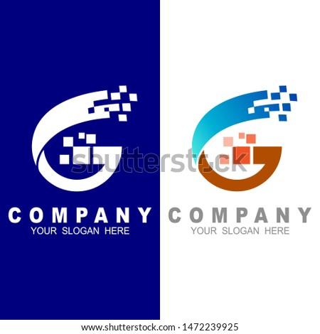 letter g logo wit modern and colorful pixel swoosh, digital logo, computer icon,  data logo design
