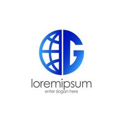Letter G logo, world globe logo design. for business, media, internet, etc. eps vector 10.