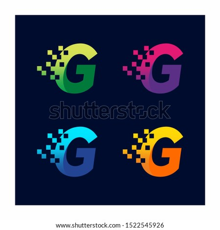 Letter G Pixel Technology Logo Design Vector Icon