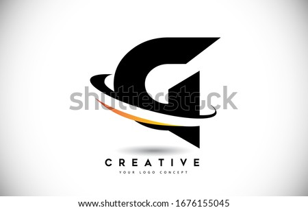 Letter G Swoosh Logo With Creative Curved Swoosh Icon Vector Illustration. Stok fotoğraf ©