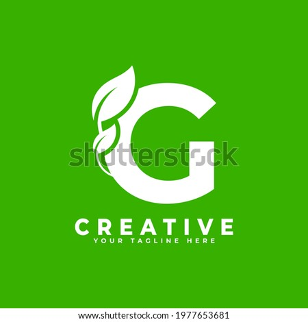 Letter G with Leaf Logo Design Element on Green Background. Usable for Business, Science, Healthcare, Medical and Nature Logos Photo stock ©