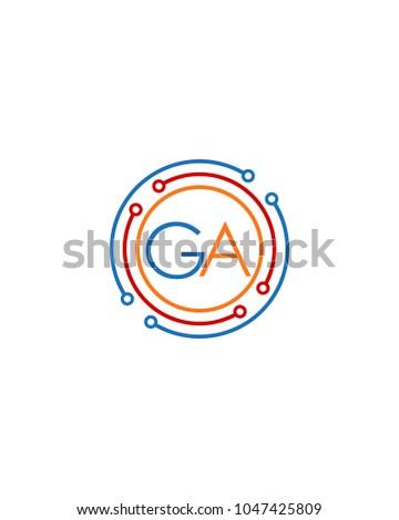 letter ga logo circle frame