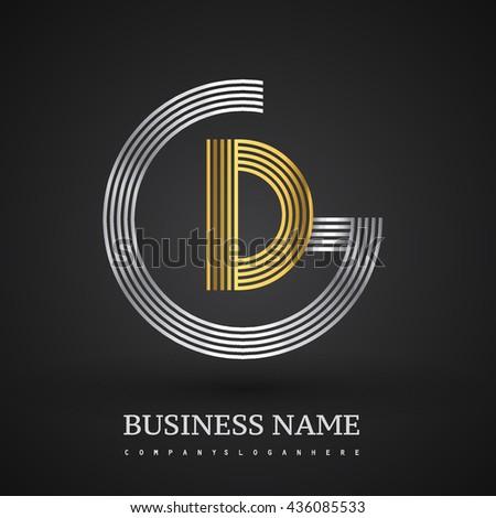 Letter Gd Or Dg Linked Logo Design Circle G Shape Elegant Silver