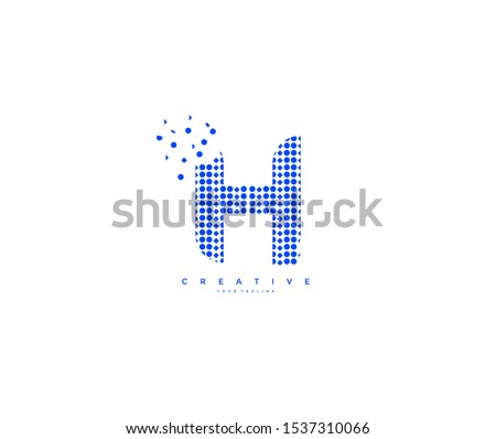 Letter H Abstract Rectangle Shapes Pixel Logotype Foto stock ©