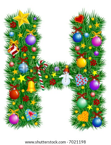 Letter H - Christmas tree decoration - Alphabet - stock vector