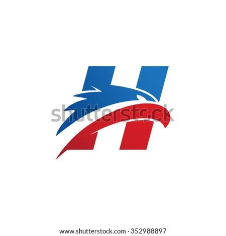 letter h eagle head red blue