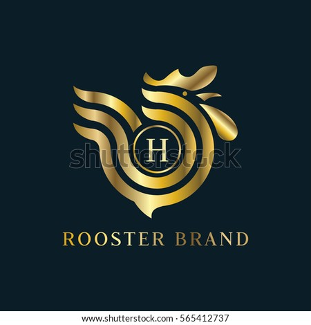 letter h golden rooster logo