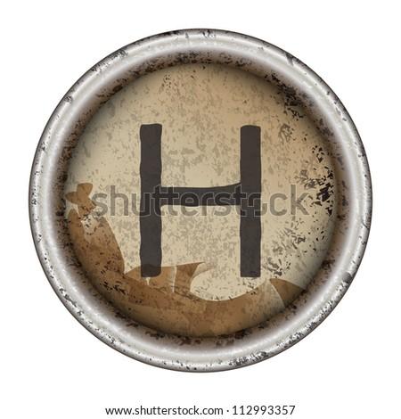 Letter H grunge typewriter key