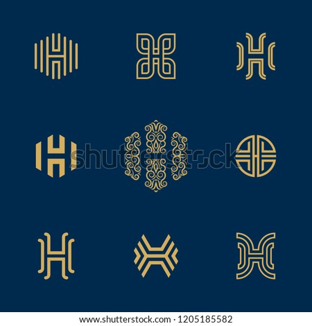 Letter H Logo collection. Vector deluxe, ornated, floral, tech, minimalist H monogram. Stock fotó ©