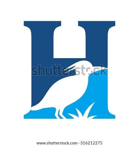 letter h logo heron logo bird