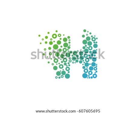 Letter H Particle Dot Logo Design Element Foto stock ©
