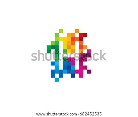 Letter H Pixel Color Mosaic Icon Logo Design Element Foto stock ©