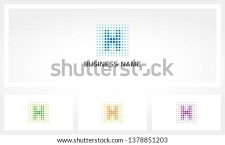Letter H Pixel Dots Logo Stock fotó ©