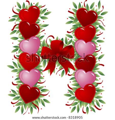 h alphabet in love  Letter H - Valentine's