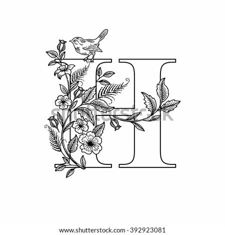 letter h with flowers and bird