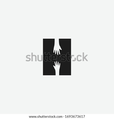 Letter H with negative space hand logo icon sign vector template Stock fotó ©