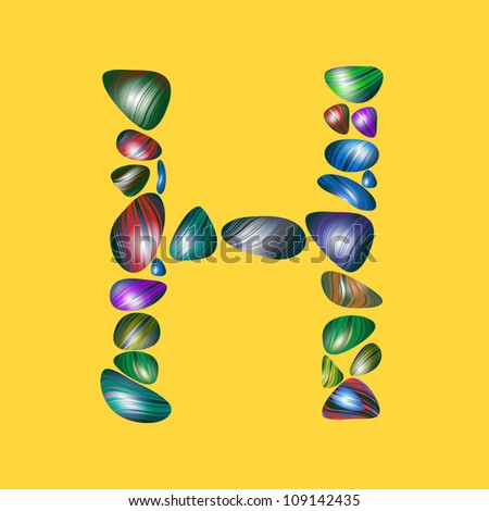 letter H with semiprecious color stones isolated vector ABC book ...