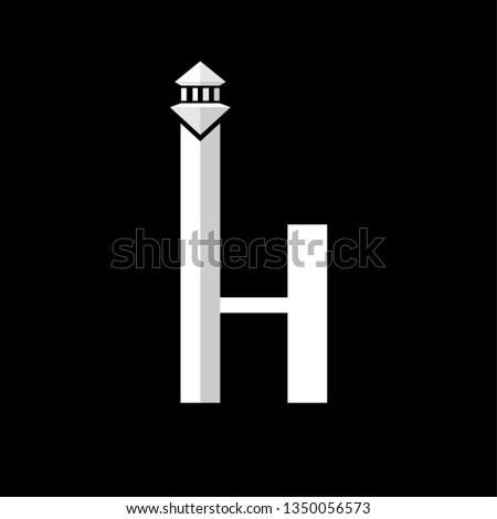 8011535e letter H with tower logo design inspiration . letter H logo . H . logo  template