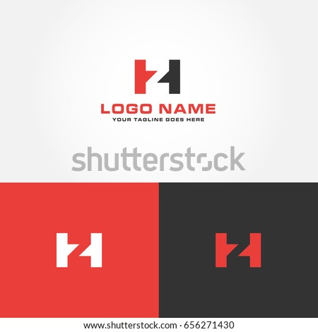 Letter H Z HZ design logo icon vector with red, dark and white colors Stock fotó ©
