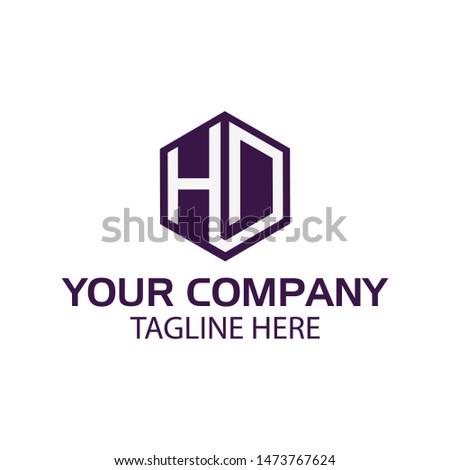 Letter HD stock logo, HD initial., flat design. HD monogram