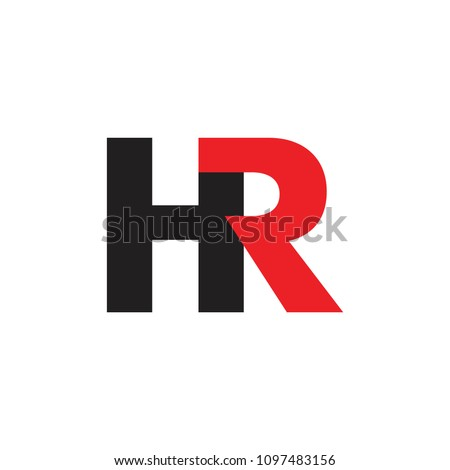 letter hr linked geometric design logo vector