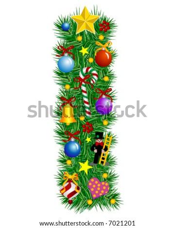 Letter I - Christmas  decoration - Alphabet - stock vector