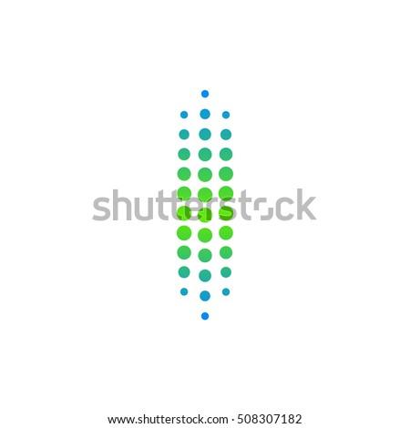 Letter I logo.Dots logo,dotted shape logotype vector design