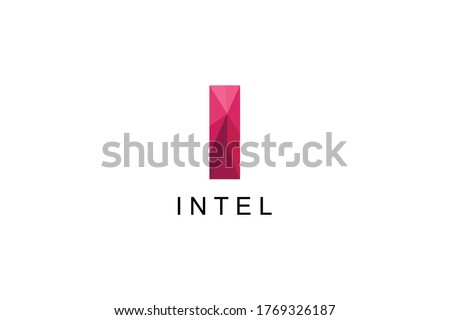 Letter I vector Logo Template with Intel Text Illustration Design. Vector EPS 10.