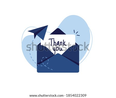 Letter in an envelope with thanks or thank you on white background icon. Send to email, mail. Blue. Flat design. Eps 10