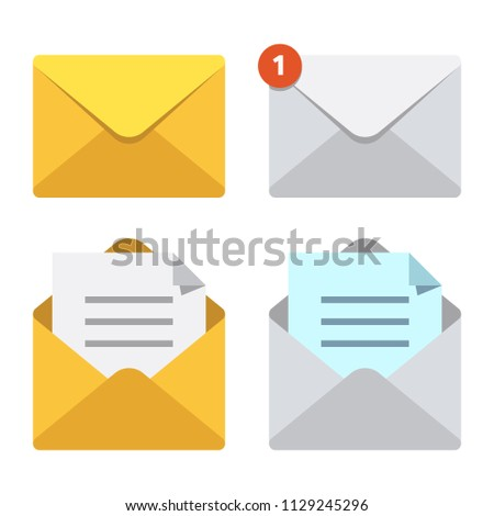 Letter in mail envelope. Mailbox notification or email message icons receiving mms closed post letter correspondence paper delivery. Open or closed letters postal envelopes vector isolated symbol set