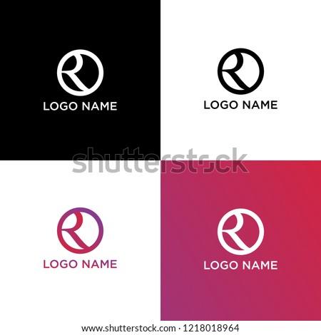 Letter Initial R Logo Design Template Foto stock ©