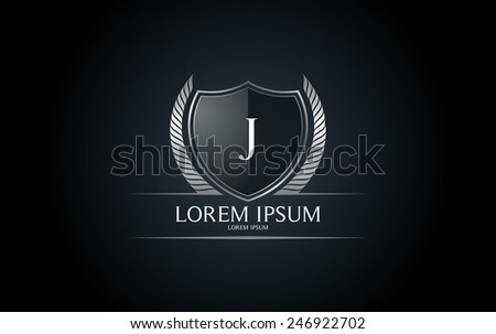 letter j crest logo alphabet