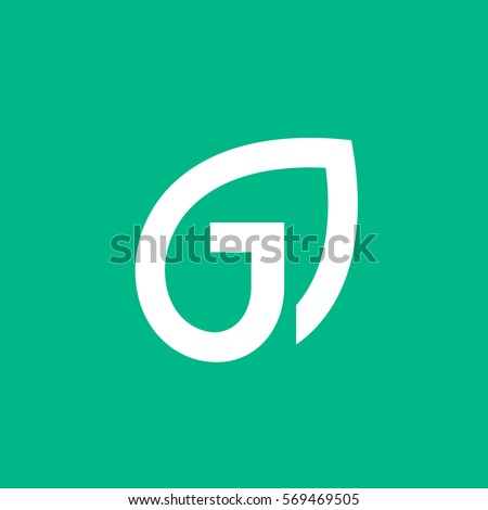 Letter J eco leaves logo icon design template elements