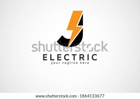 Letter J Electric Logo, letter J and lightning bolt combination, tunder bolt design logo template, vector illustration
