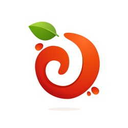 Letter J logo in fresh juice splash with green leaves. Vector elements for natural application, ecology presentation, business card or cafe posters.