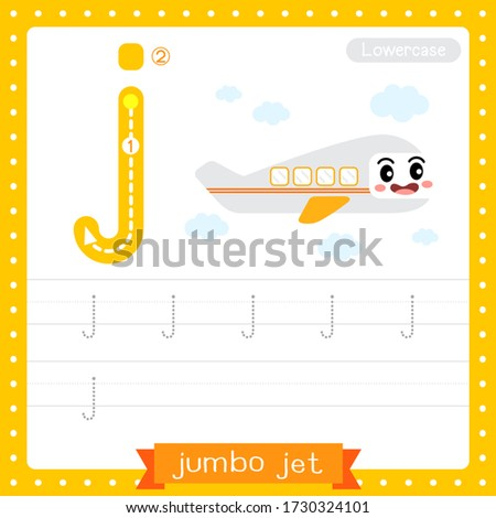 Letter J lowercase cute children colorful transportations ABC alphabet tracing practice worksheet of Jumbo Jet for kids learning English vocabulary and handwriting Vector Illustration.