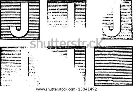 Letter J part of a complete alphabet of vintage rubber stamp letters