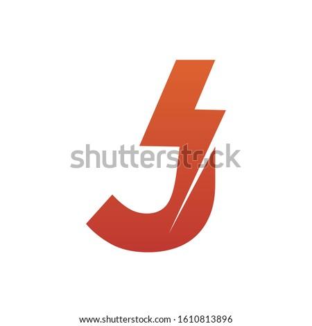 Letter J thunder power shape logo icon. Electrical Icon logo concept.