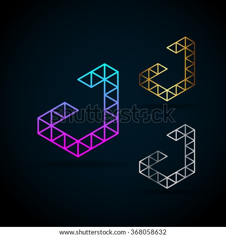 Vector Images, Illustrations and Cliparts: Letter J Vector Origami