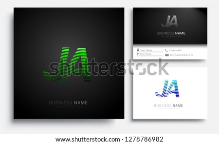 Letter JA logotype with colorful circle, with striped composition letter, sets of business card for company identity, creative industry, web.